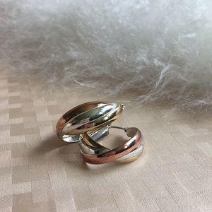 VINTAGE Tri-Color Hoop Earrings